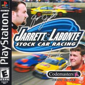 The cover art of the game  Jarrett & Labonte Stock Car Racing.