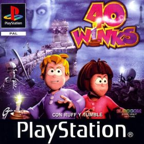 The cover art of the game 40 Winks: Con Ruff y Tumble.