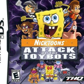 The cover art of the game SpongeBob: Angriff der Spielzeugroboter.