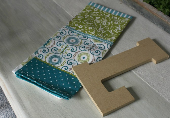 Fabric and Letter for Trash to Treasure project