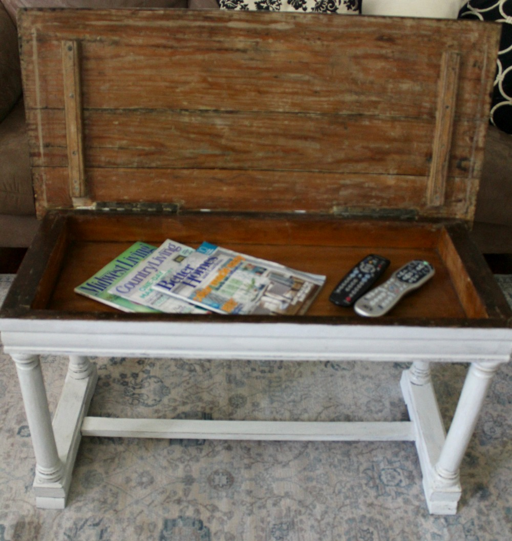 Re purposing a vintage piano bench the inside of the bench required a little sanding and a coat of poly now its the perfect place to store remotes and my favorite magazines geotapseo Image collections