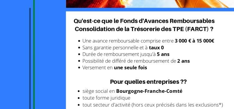 Aide Fonds d'Avances Remboursables Consolidation de la Trésorerie des TPE (FARCT) crée par le Conseil Régional de Bourgogne-Franche-Comté