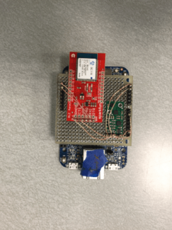 Top view of sensor and FRDM K64F board