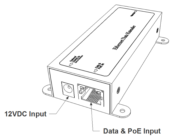 Single channel Ethernet/Data extender with power supply
