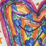 Child's marker art with hearts and stars