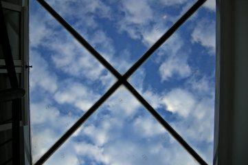 photo of a skylight with x-shaped lattice