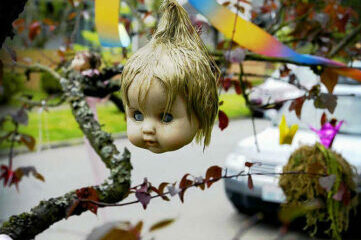 photo of a doll's head hanging fom tree limb