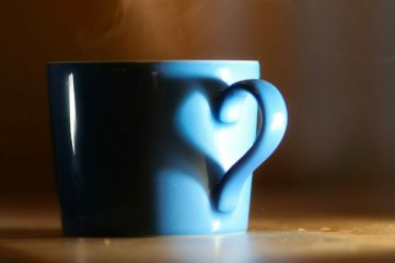 photo of a mug with steaming beverage