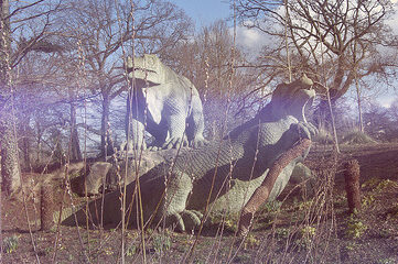 photo of Iguanodon sculptures