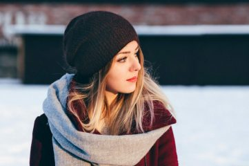 photo of a girl with nose ring in winter setting