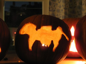 photo of jack-o-lantern with cow-shaped cutout