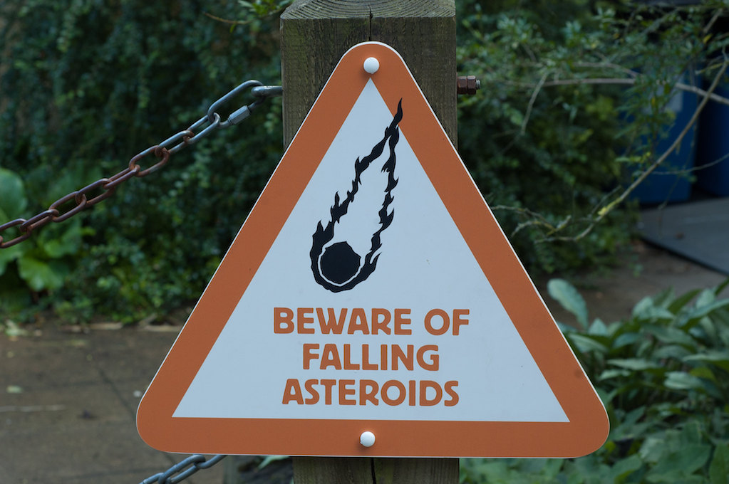 warning sign for falling asteroids