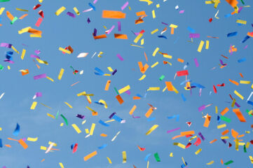 photo of confetti falling