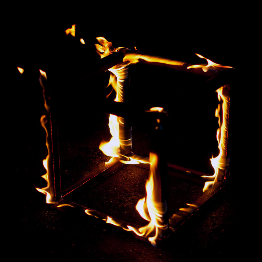 photo of a cube on fire
