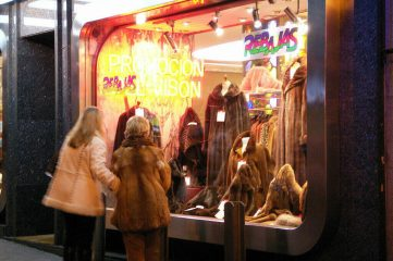 photo of fur store's front display window