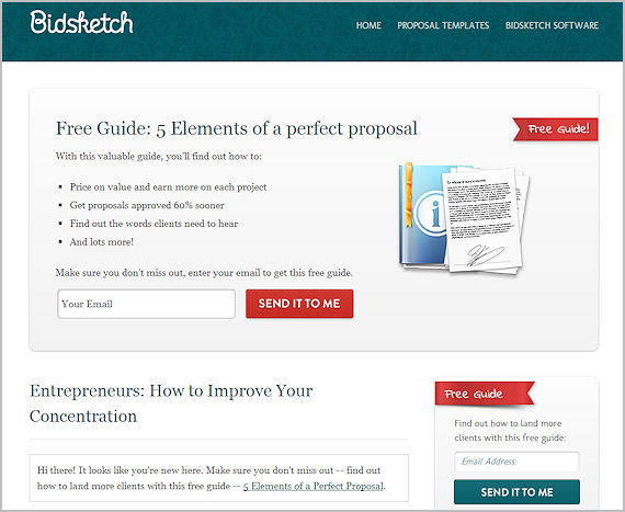 Bidsketch blog with sign up form