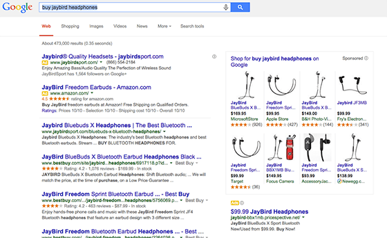 search user intent using the word buy