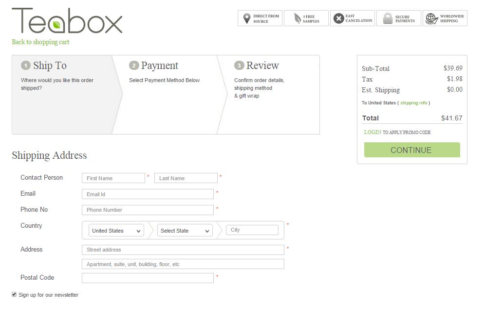 teabox - checkout page