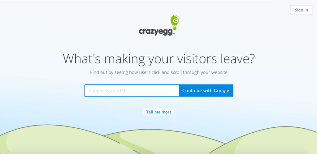 The home page squeeze page from crazy egg