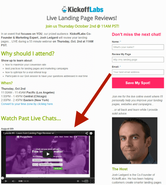 Webinar landing page kick off labs