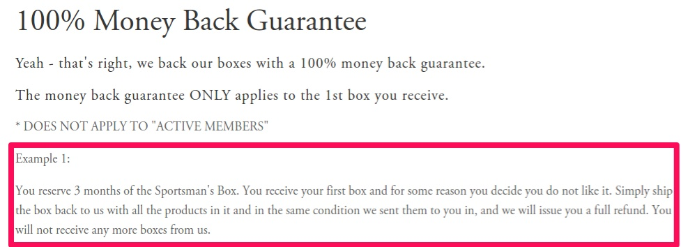 sport box: guarantees that help purchase decision