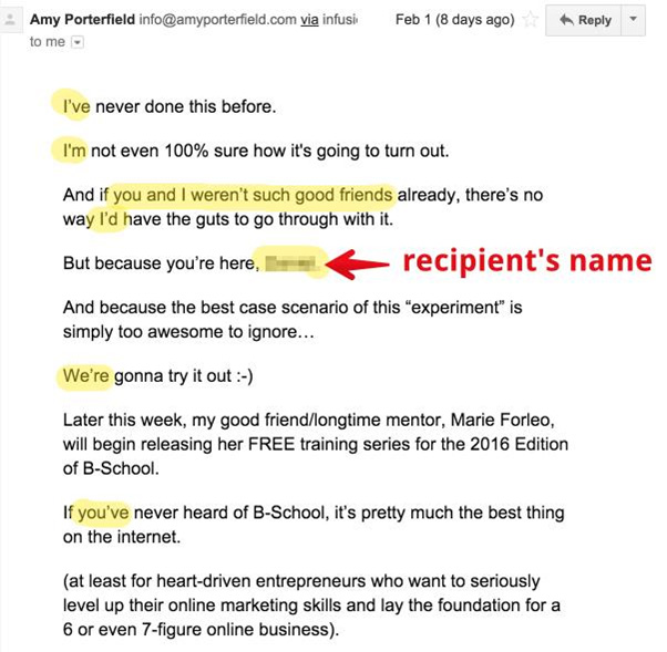 email recipients name