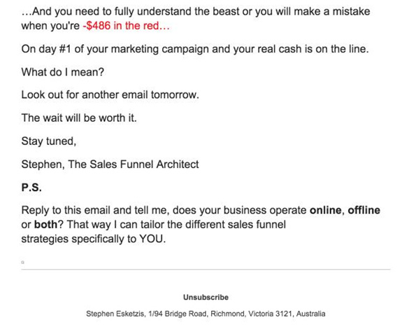 sales funnel email