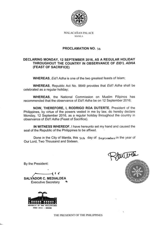 A very long weekend for Cebu, September 12 also a holiday to celebrate Eid'L Adha (Feast of Sacrifice)   Cebu Finest