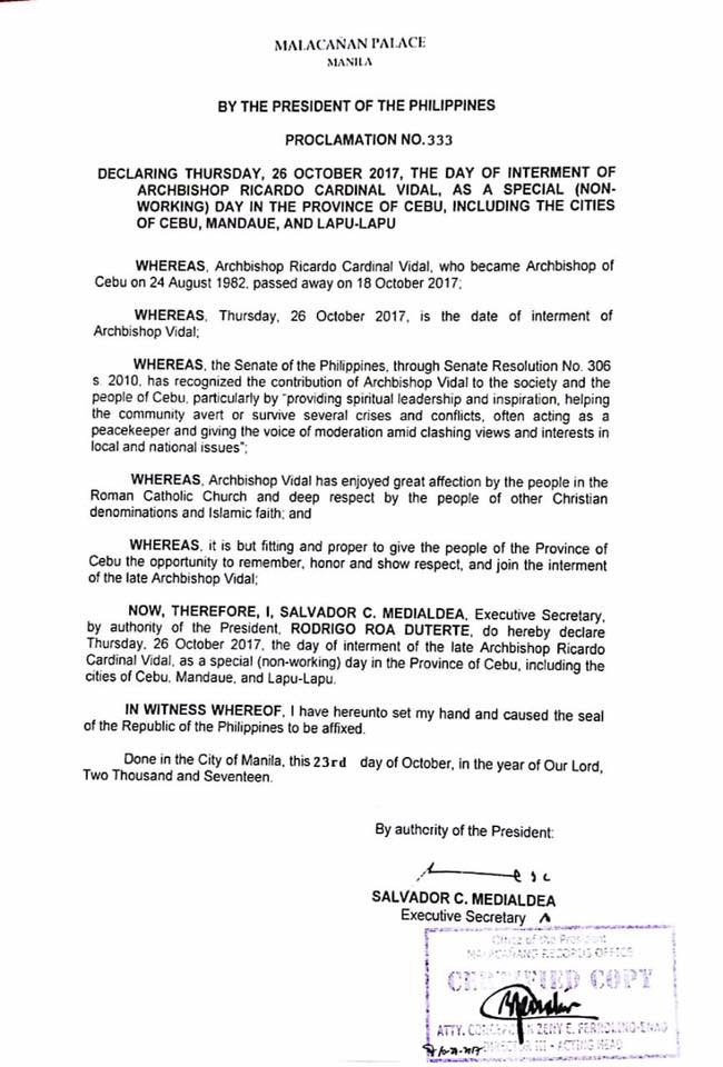 Malacañan Palace declares October 26, 2017, a special holiday in Cebu to honor Cardinal Vidal | Cebu Finest