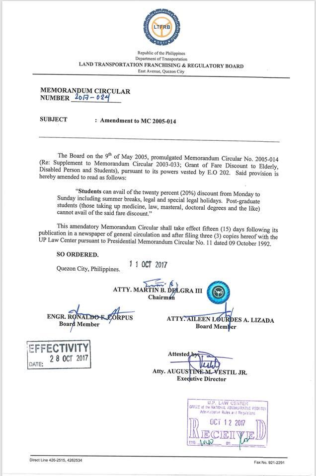 LTFRB issues memorandum for student fare discount on holidays, summer breaks   Cebu Finest