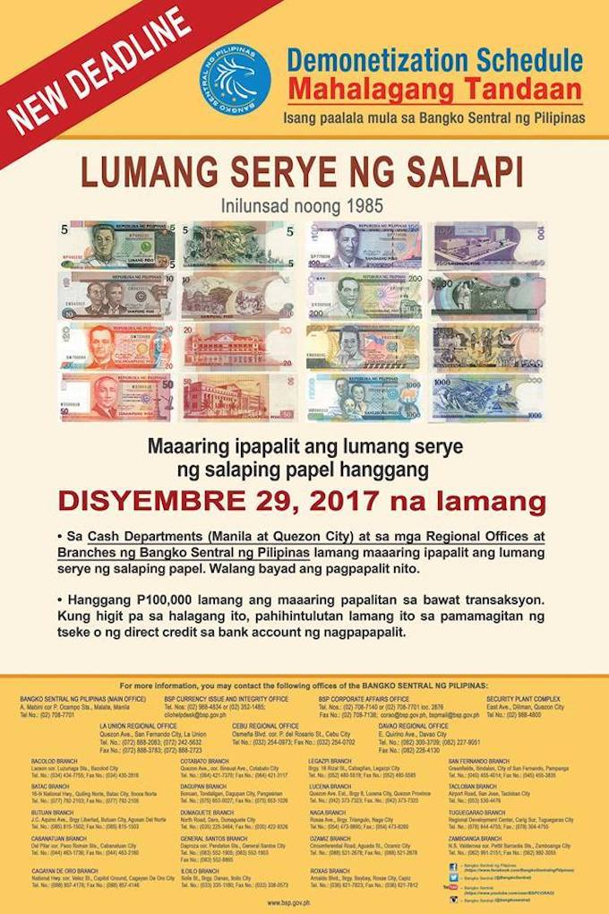 Bangko Sentral ng Pilipinas sets deadline for exchanging old banknotes until  December 29 | Cebu Finest