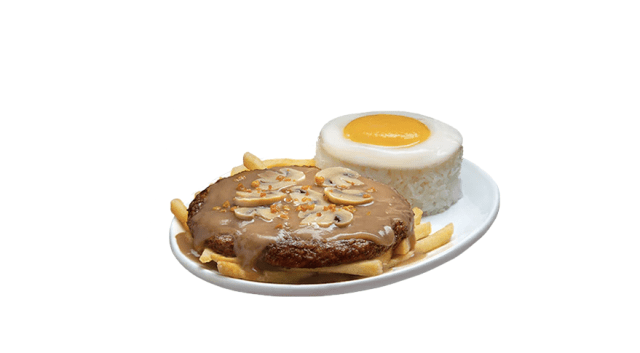 The Ultimate Burger Steak is made of 1/3-pound Champ patty topped with mushroom sauce and served with fries, mushroom strips, garlic bits, and rice egg. Meals start at ₱150. | CebuFinest