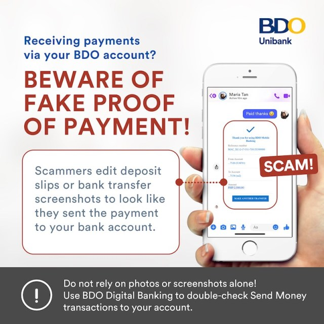 BDO warns online sellers of proof of payment transaction scams | CebuFinest