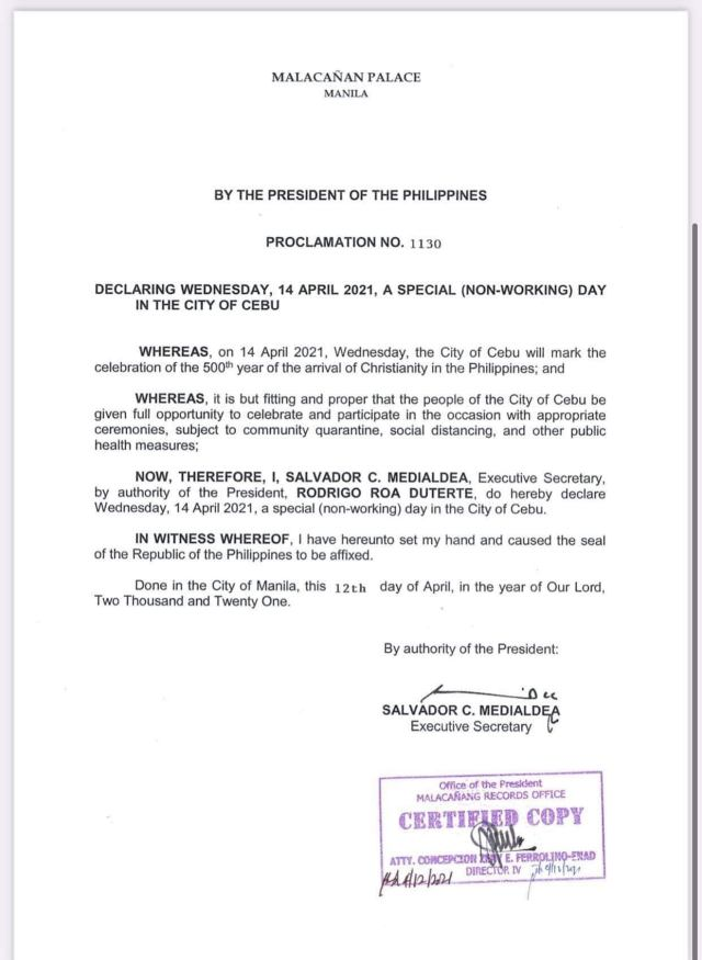 April 14 a Special Non-Working Holiday in Cebu City, Malacañan Palace declares | CebuFinest
