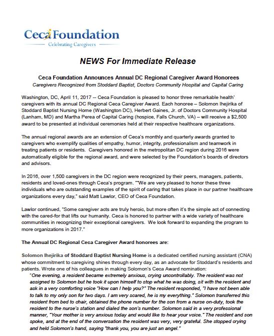 Ceca Foundation Announces DC Regional Award