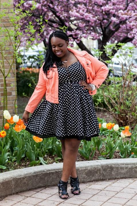 CeCe Olisa Plus Size Polka Dot Dress Plus Size Denim Jacket. PlusSizePrincess