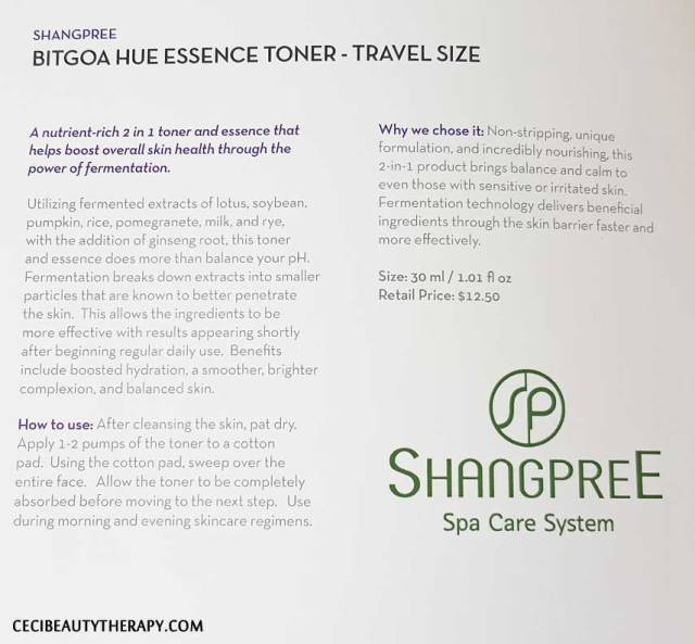 Shangpree Bitgoa Hue Essence Toner - Travel Size Booklet Info. Click to enlarge.