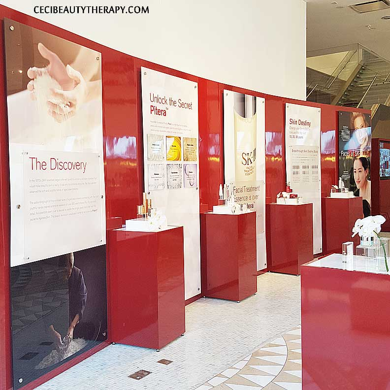 Learn more about SK-II key ingredient, Pitera, along this wall.