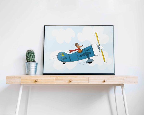 Vliegtuig kinderkamer poster teckel
