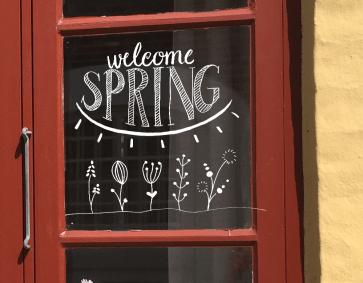 raamtekening welcome spring, raamtekening lente