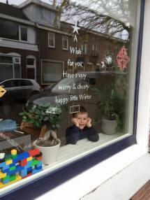 raamtekening wensraam, raamtekening winter quote, raamtekening kerst