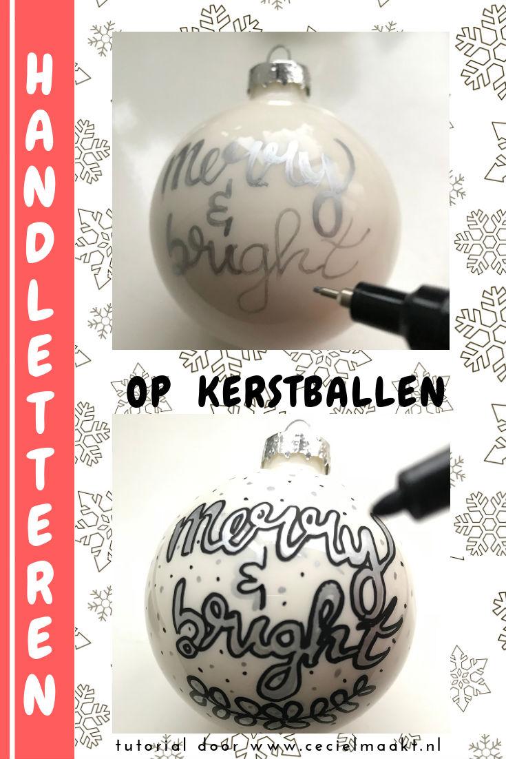 tekenen met pen op een kerstbal