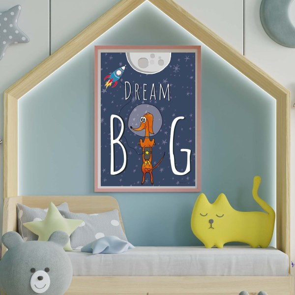 Dream Big kinderkamer poster, teckel poster