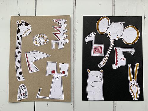 knip en plak tekening