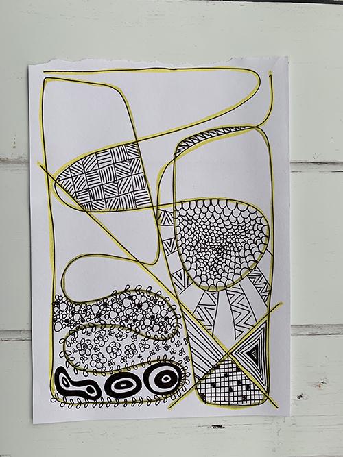 Tekening op papier met patronen