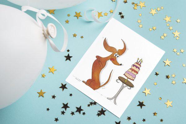 Verjaardagskaart teckel - teckel kaart - teckel met taart