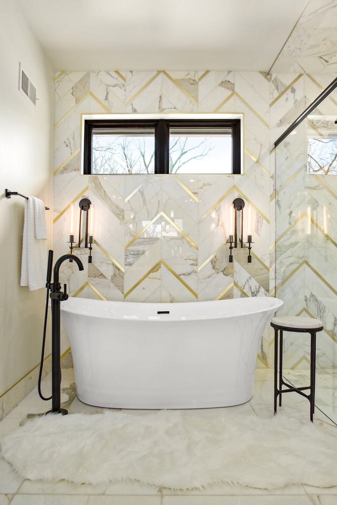 Modern bathroom with custom tile