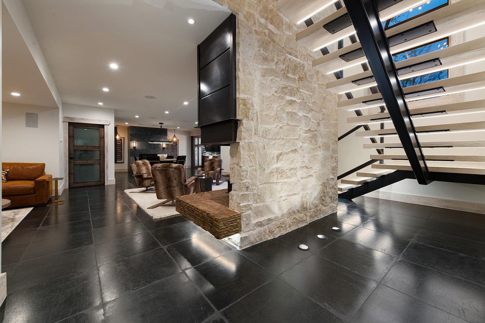 Custom stairs and basement media room