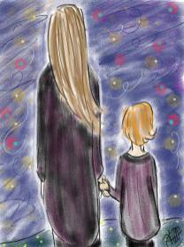 dessin d une femme et d une petite fille de dos regardant des lueurs colorees la nuit réalisé par cecile jonquiere - cecile jonquieres