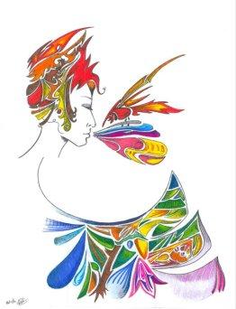 dessin d une femme de profil tout en decoupe de couleurs